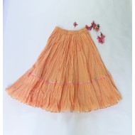 Two Feet Orange-Pink Elasticated-Waist Crinkled Cotton Skirt with Gota Patti